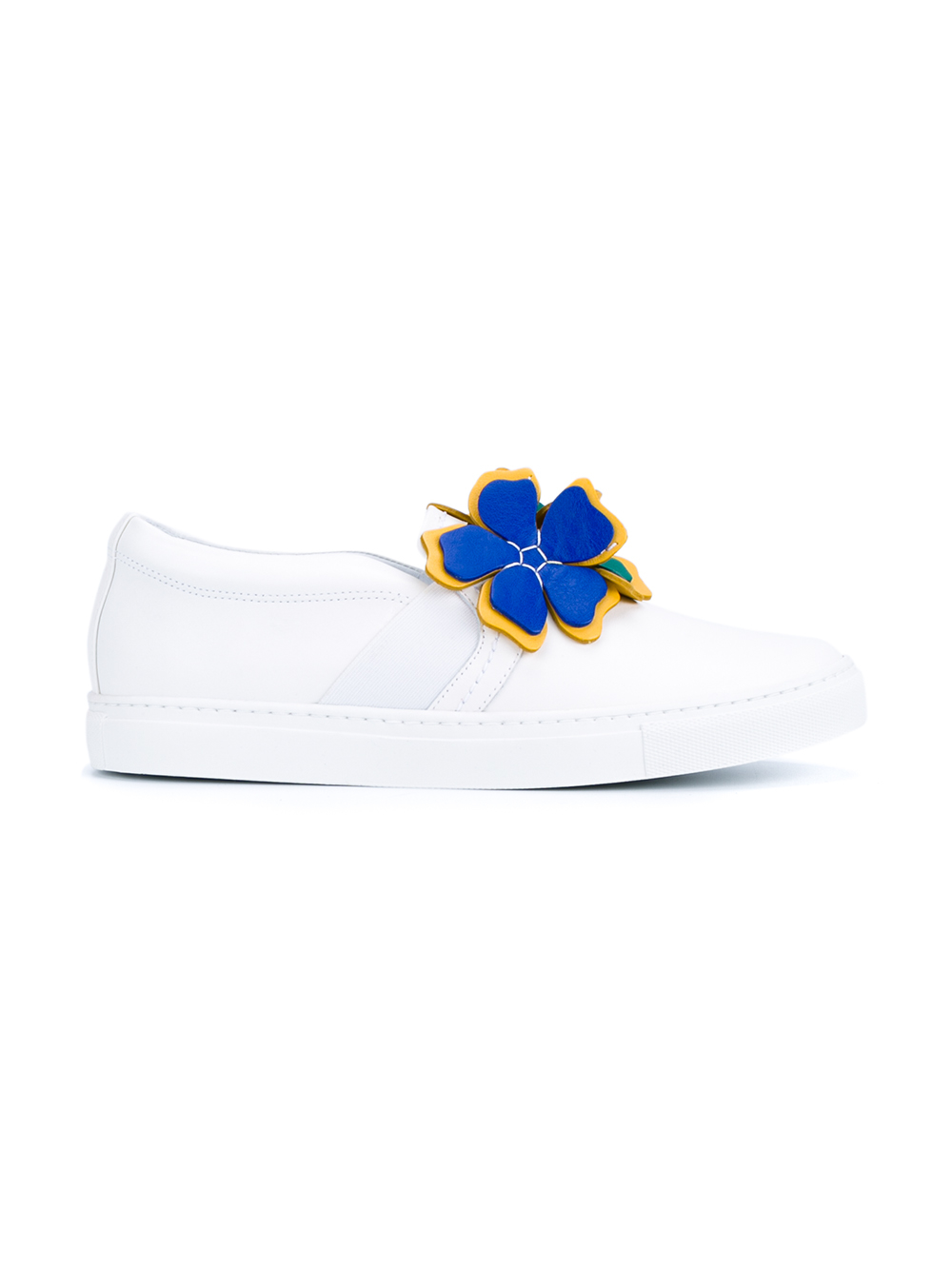 Lanvin Floral Leather Slip-on Sneakers in White