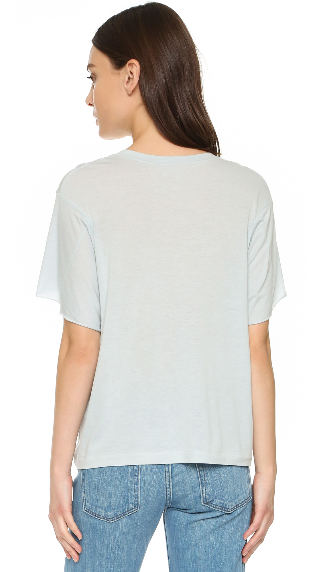 helmut lang feather jersey boxy t shirt in blue lyst. Black Bedroom Furniture Sets. Home Design Ideas