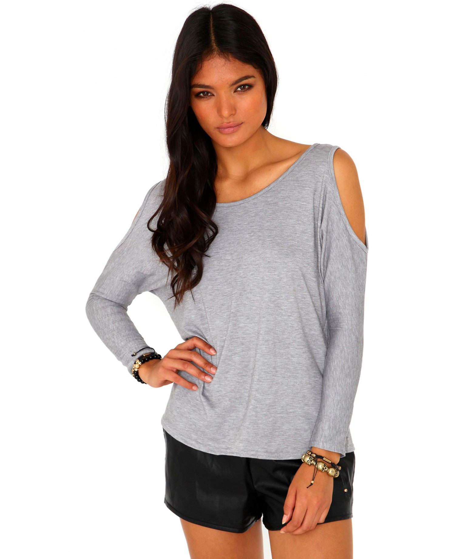 77edf6b3fa13d5 Lyst - Missguided Laile Cut Out Shoulder Top in Grey in Gray