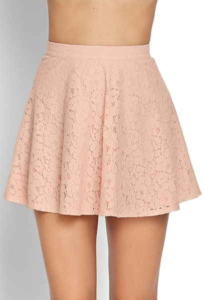 forever 21 lace a line skirt in pink blush lyst
