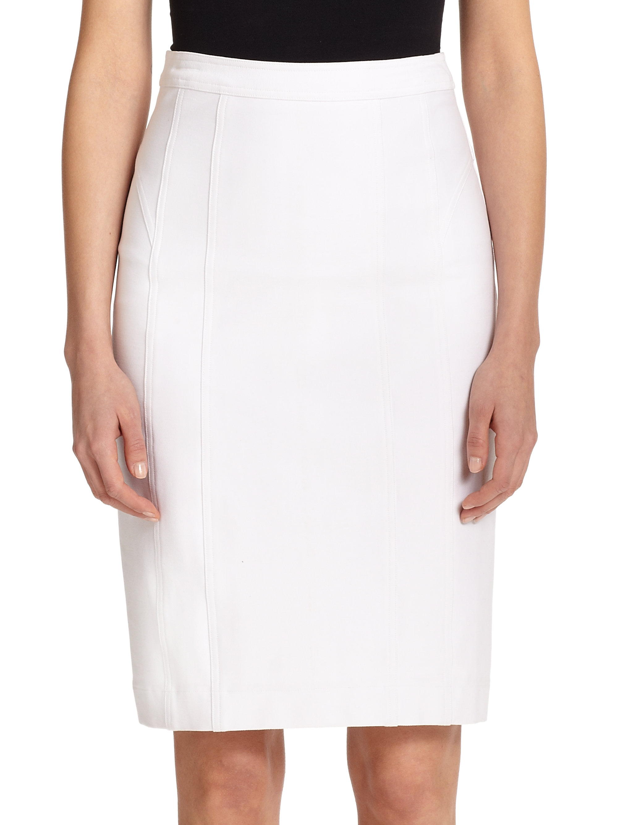 Nanette lepore Stretch Twill Pencil Skirt in White | Lyst