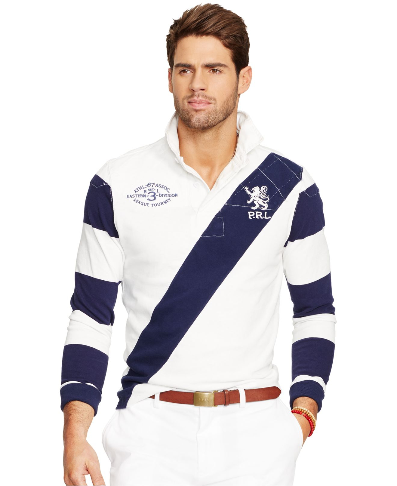 Polo Ralph Lauren Banner Striped Rugby Shirt In Blue For