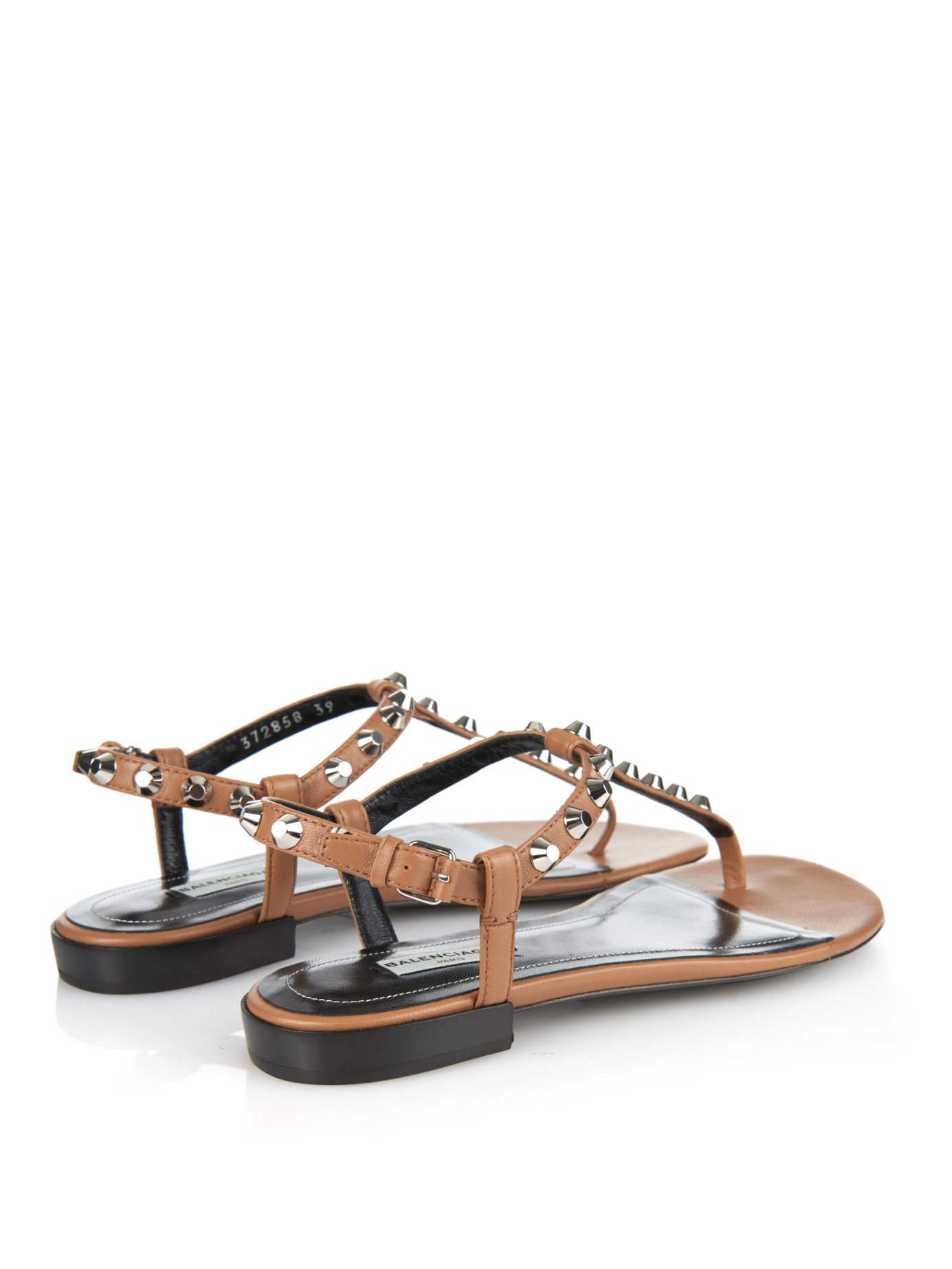 Lyst Balenciaga Arena Studded Flat Sandals In Brown