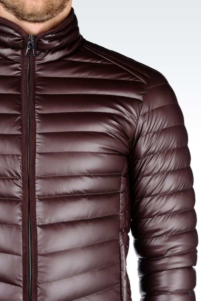 ccd714f700 Emporio Armani Purple Down Jacket In Leather Effect Technical Fabric for men