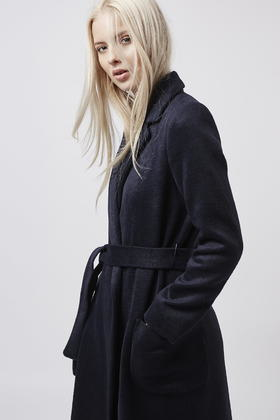 Topshop Petite Belted Wool Blend Coat in Blue | Lyst