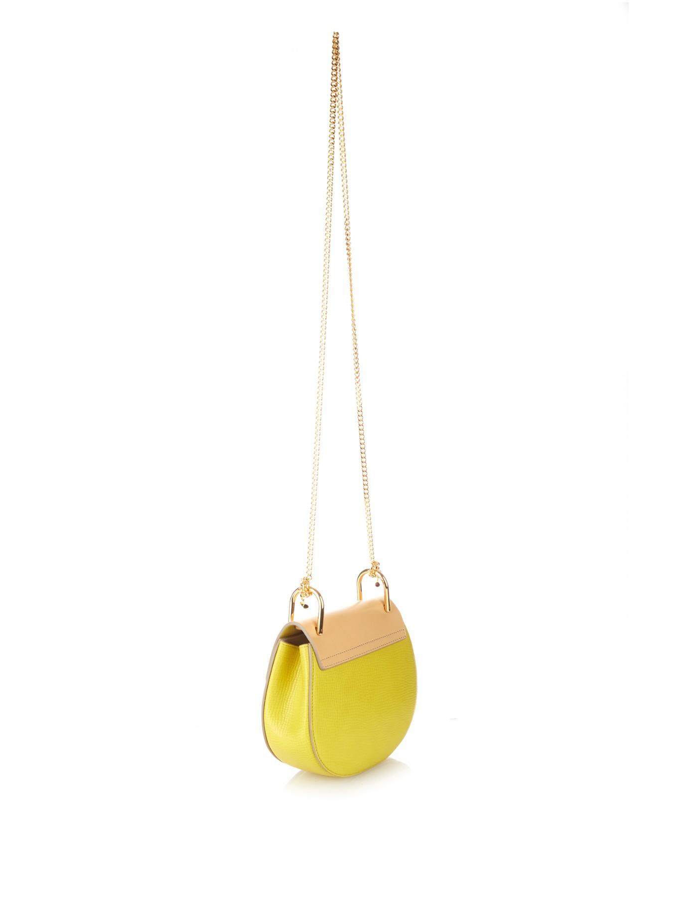 fake chloe handbags - Chlo�� Drew Mini Leather Cross-Body Bag in Yellow | Lyst