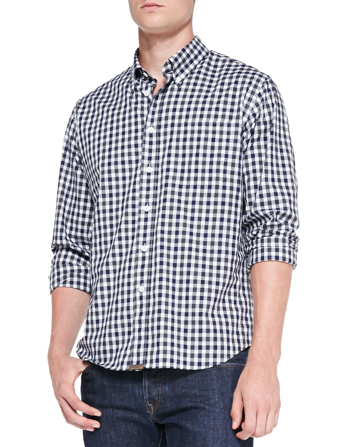 Billy Reid Tuscumbia Gingham Button Down Shirt In Blue For
