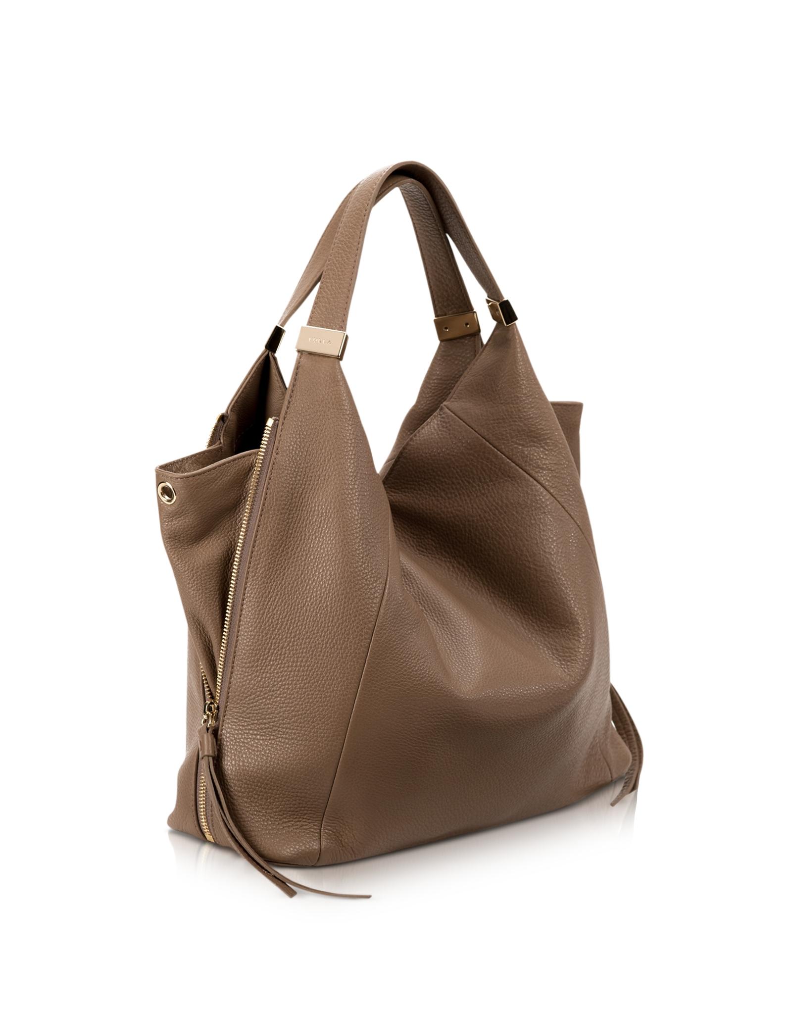 Furla Liz Daino Leather Hobo Bag in Brown