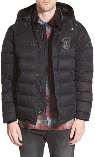 True Religion Puffer Jacket In Black For Men Jet Black