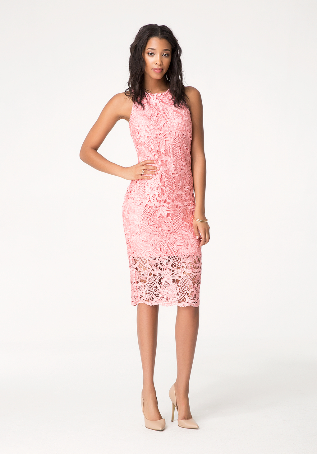 28dd1a90f780 Bebe Guipure Lace Midi Dress in Pink - Lyst