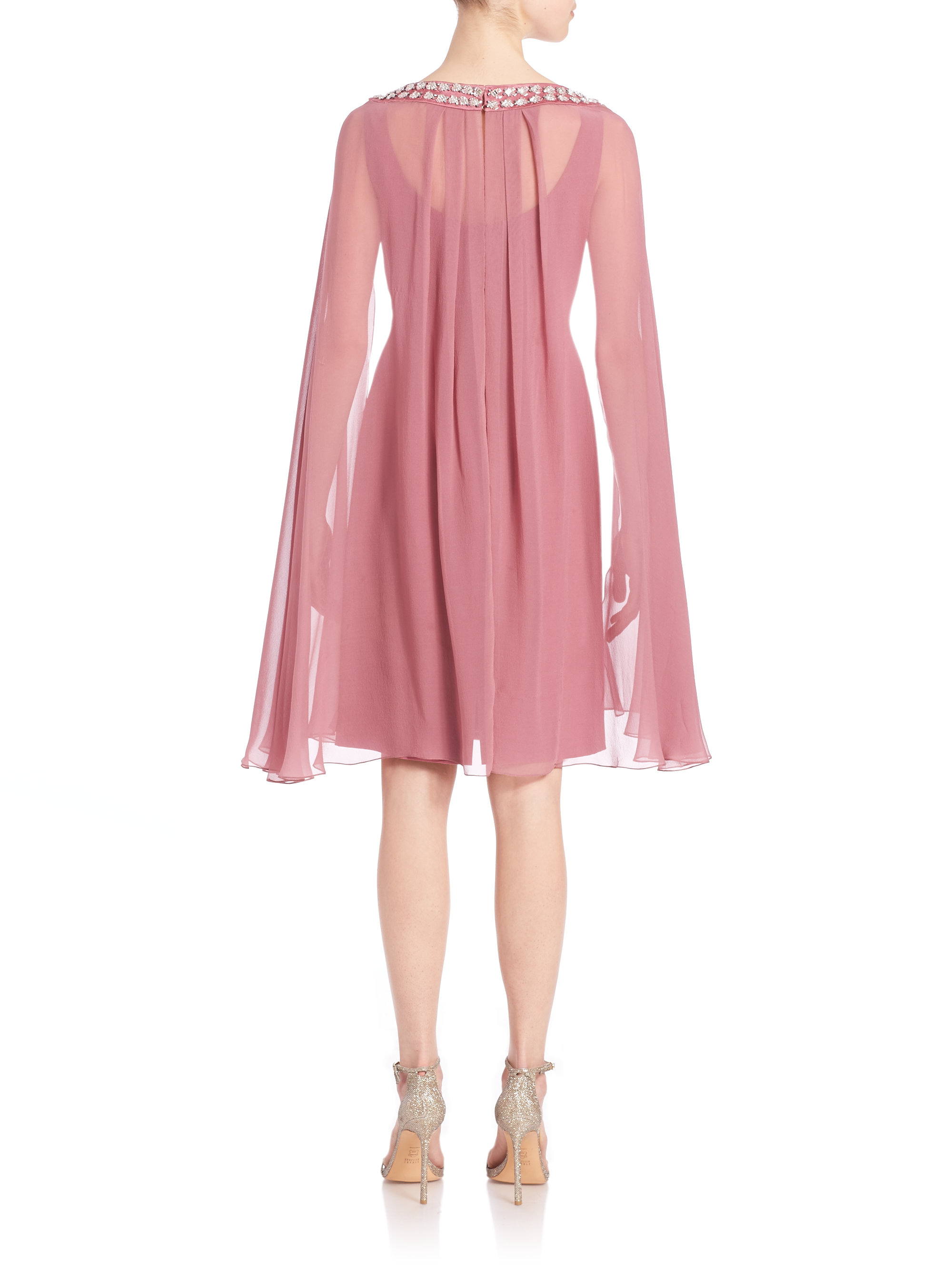 Lyst Kay Unger Stretch Tulle Cape Dress In Pink