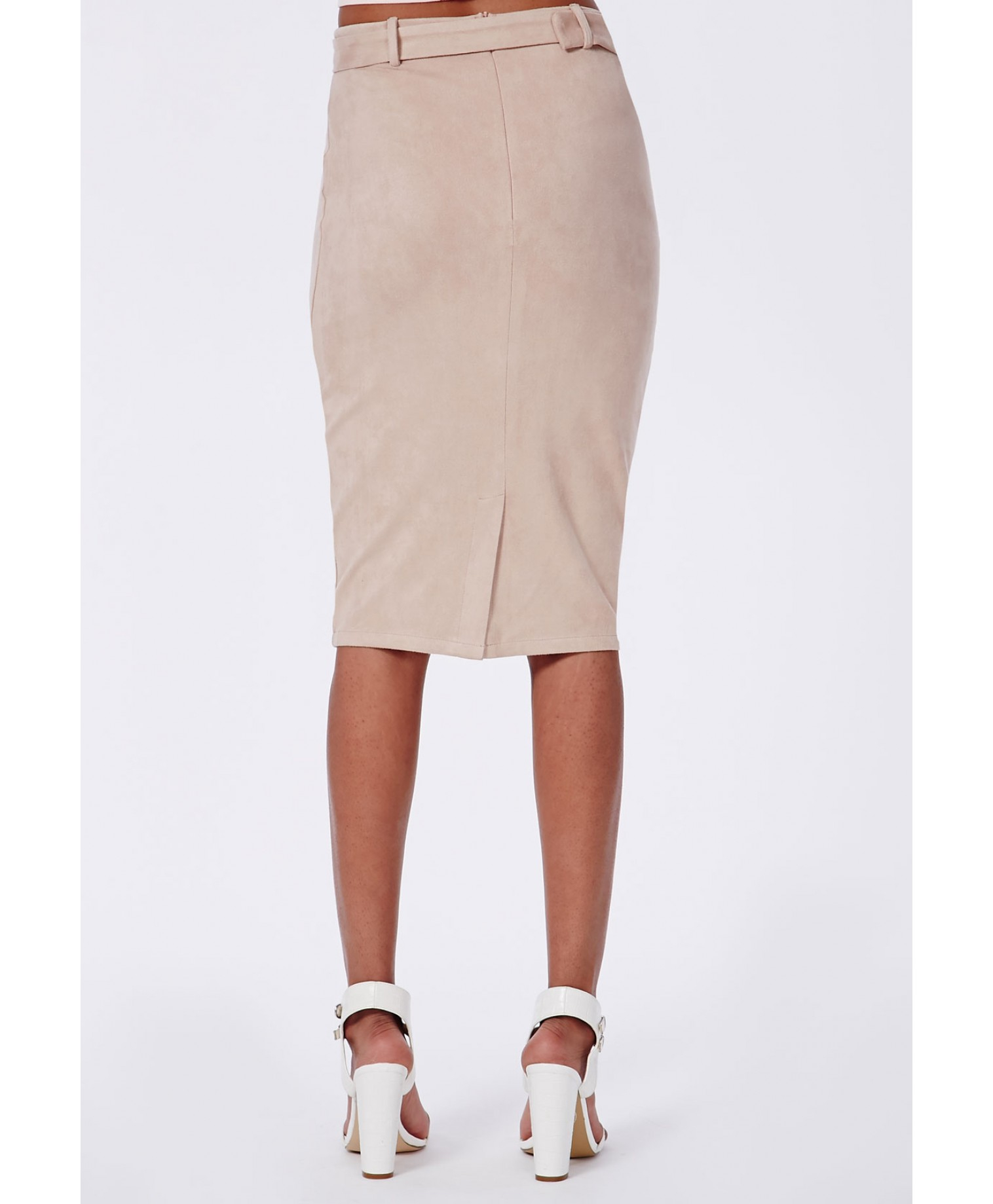 missguided belt detail faux suede midi skirt taupe in
