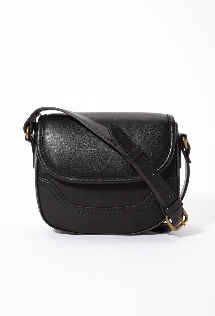 Forever 21 Miniature Crossbody Saddle Bag in Black