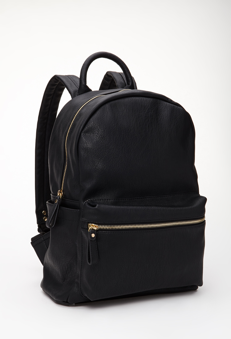 Lyst Forever 21 Classic Faux Leather Backpack In Black