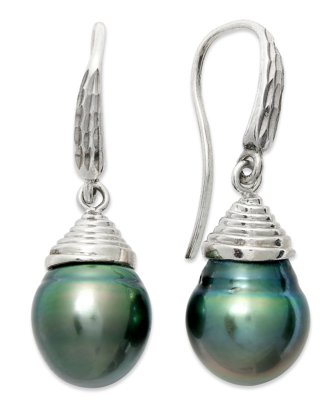 macy s pearl earrings macy s pearl earrings sterling silver cultured tahitian 6076