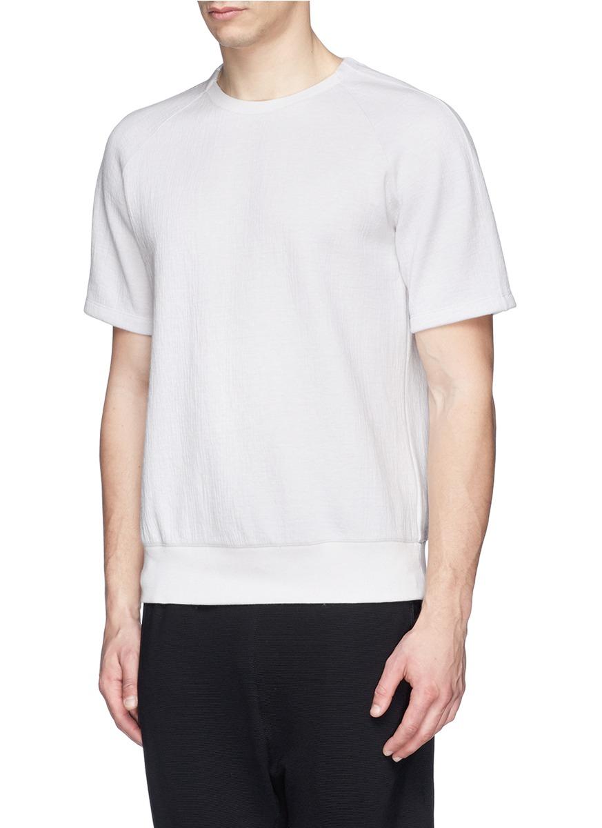 lyst helmut lang crinkled bonded jersey t shirt in gray. Black Bedroom Furniture Sets. Home Design Ideas