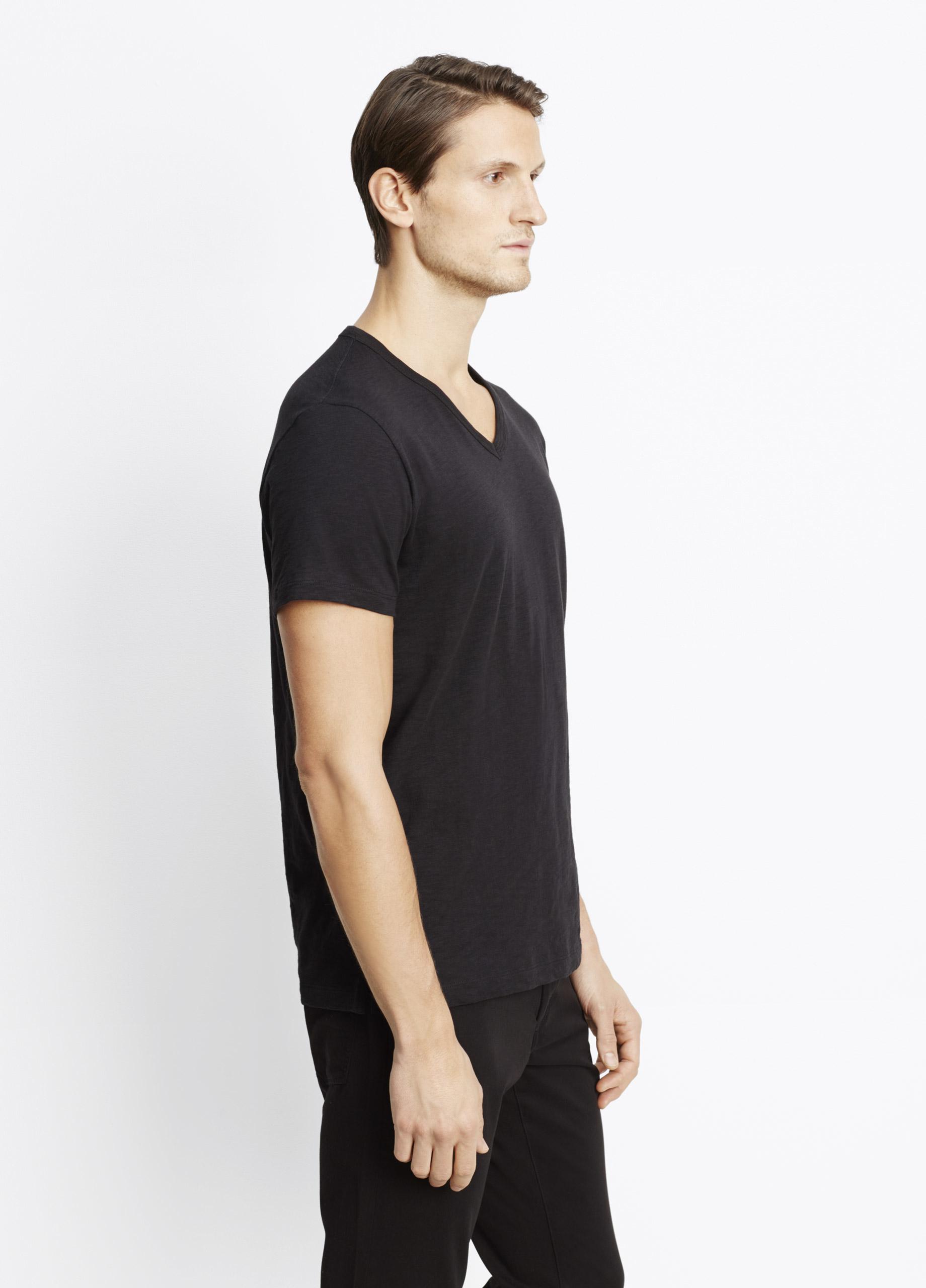 Lyst vince slub cotton v neck tee in black for men for Vince tee shirts sale