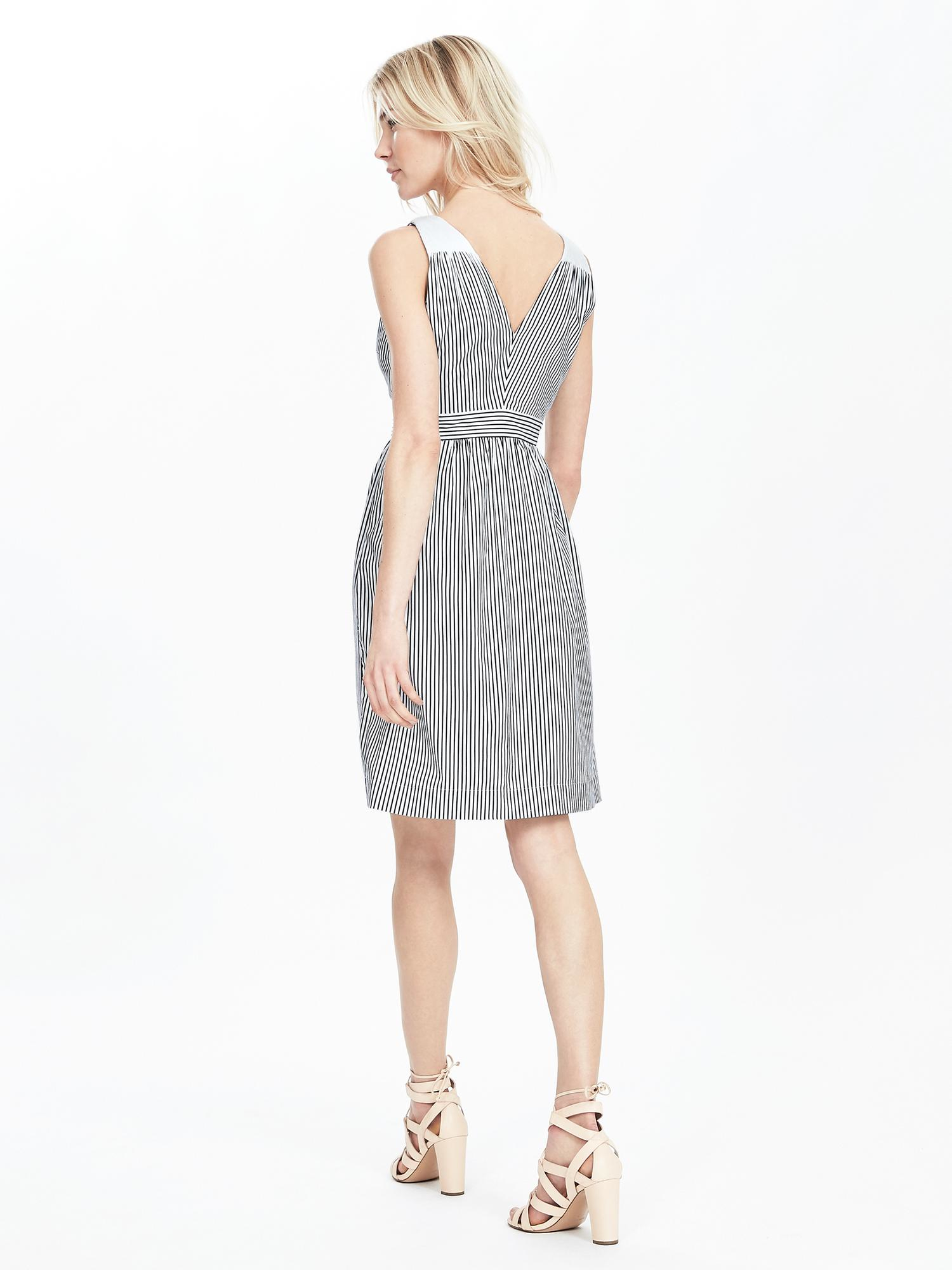 Banana Republic Striped Crossover Fit And Flare Dress In