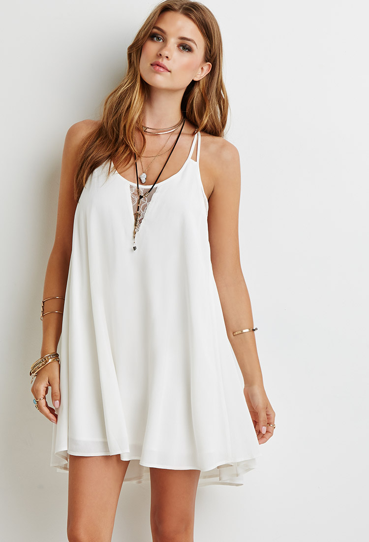d68ed27866 Forever 21 Natural Lace-paneled Cami Dress