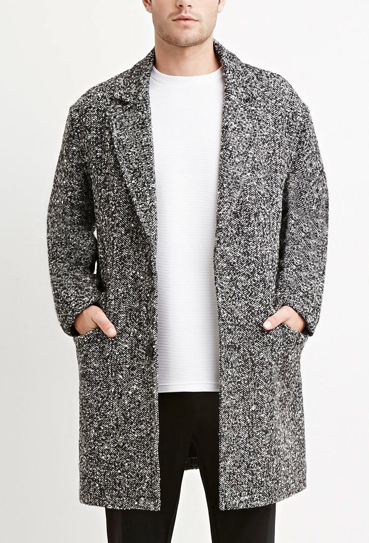 Forever 21 Herringbone-patterned Coat in Black for Men | Lyst