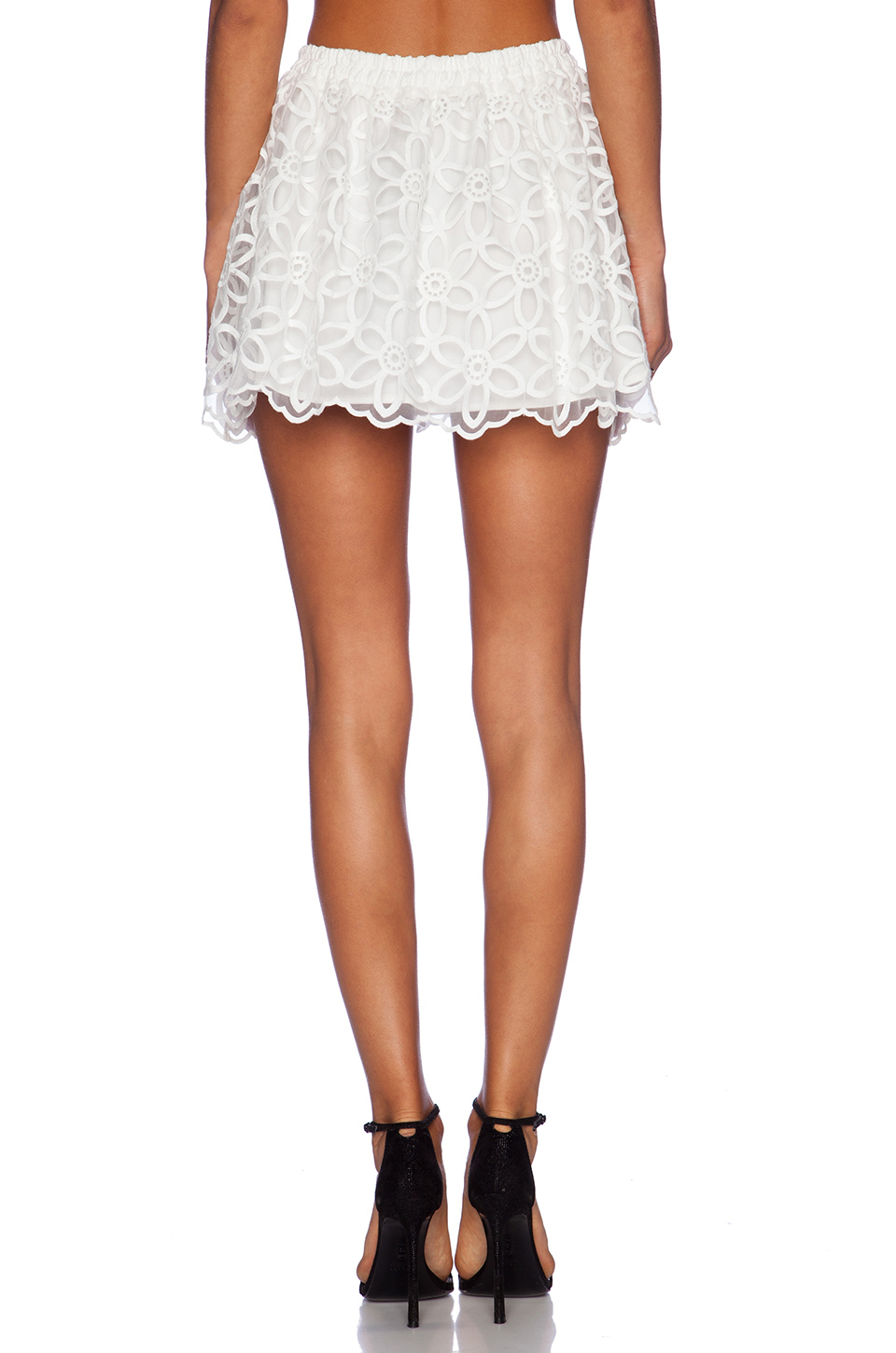 lucca couture high waisted lace skirt in white lyst