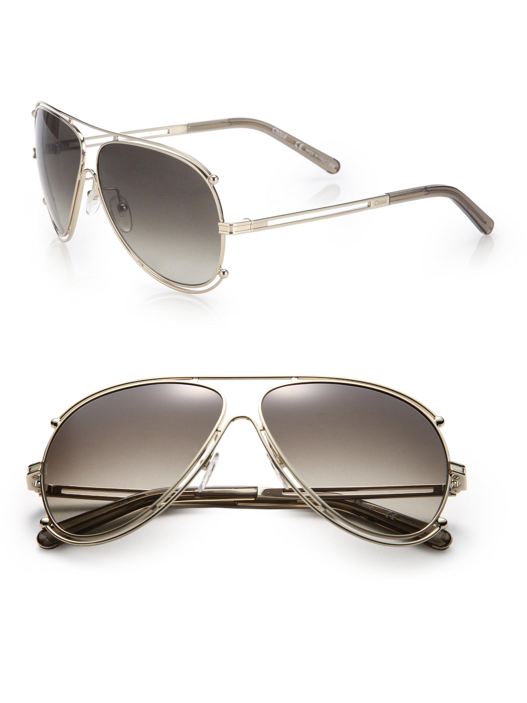 Chloe Gold Frame Sunglasses : Chloe Isadora 61mm Aviator Sunglasses in Metallic Lyst