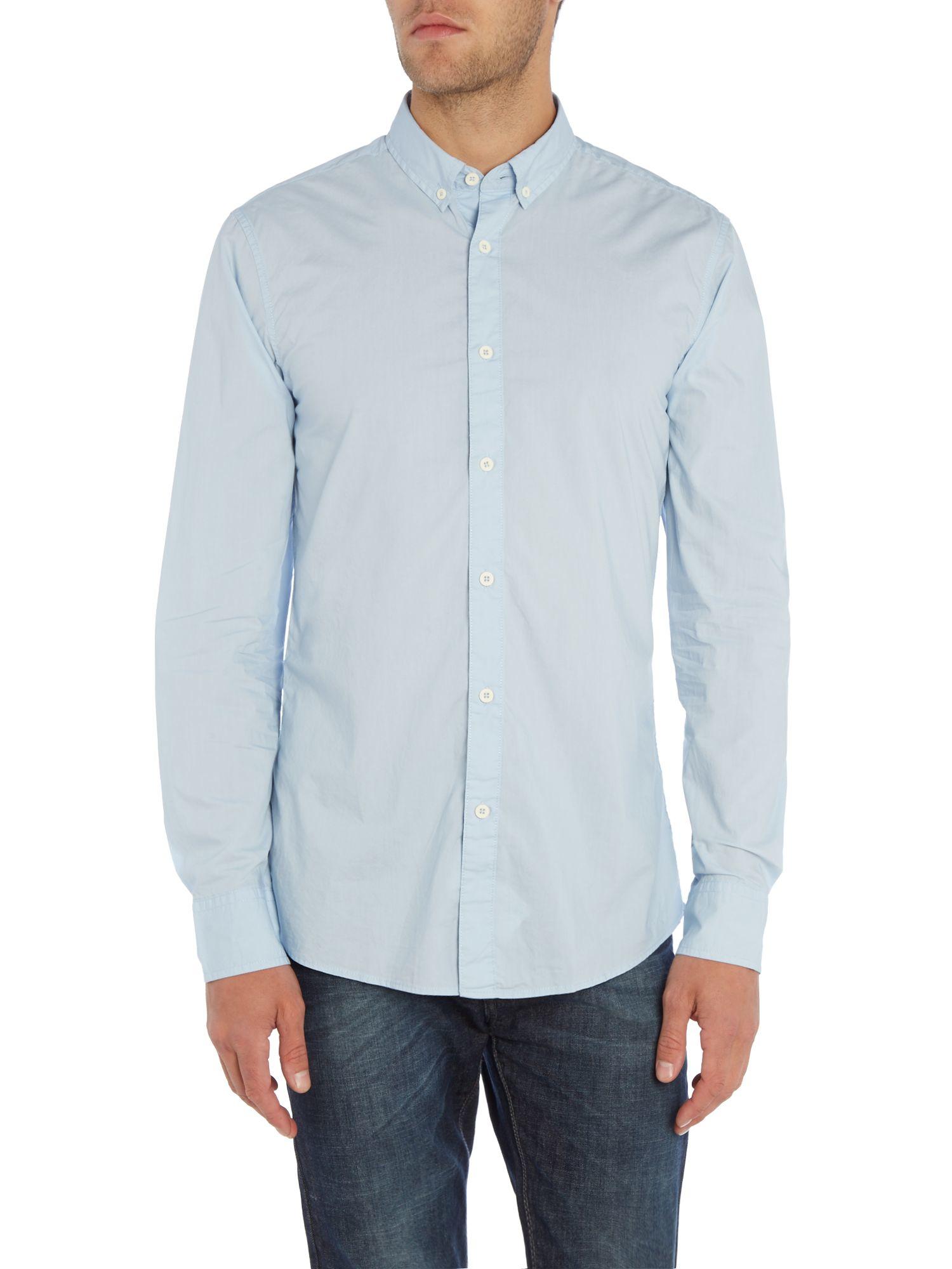 Benetton Classic Long Sleeve Shirt in Light Blue (Blue) for Men