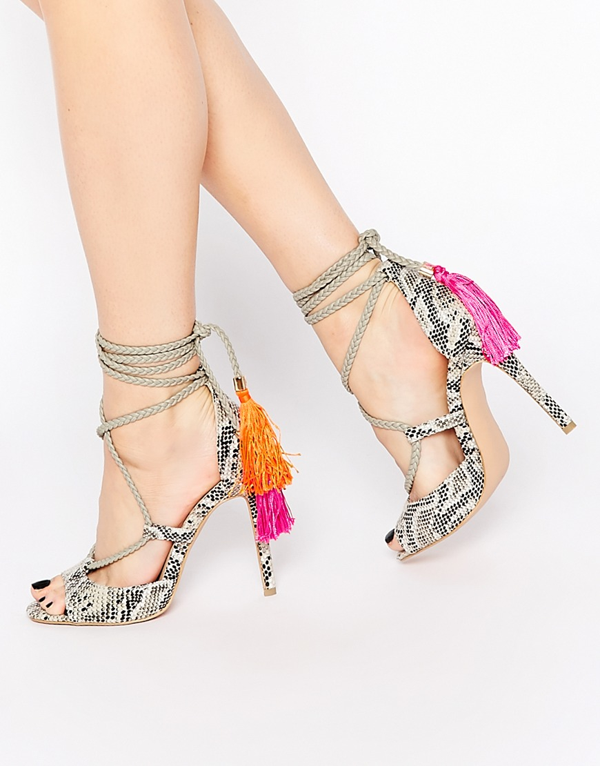 Daisy Street Tassel Ghillie Lace Up Heeled Sandals Lyst