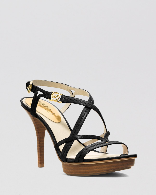 michael michael kors open toe platform sandals cicely high heel in black lyst. Black Bedroom Furniture Sets. Home Design Ideas