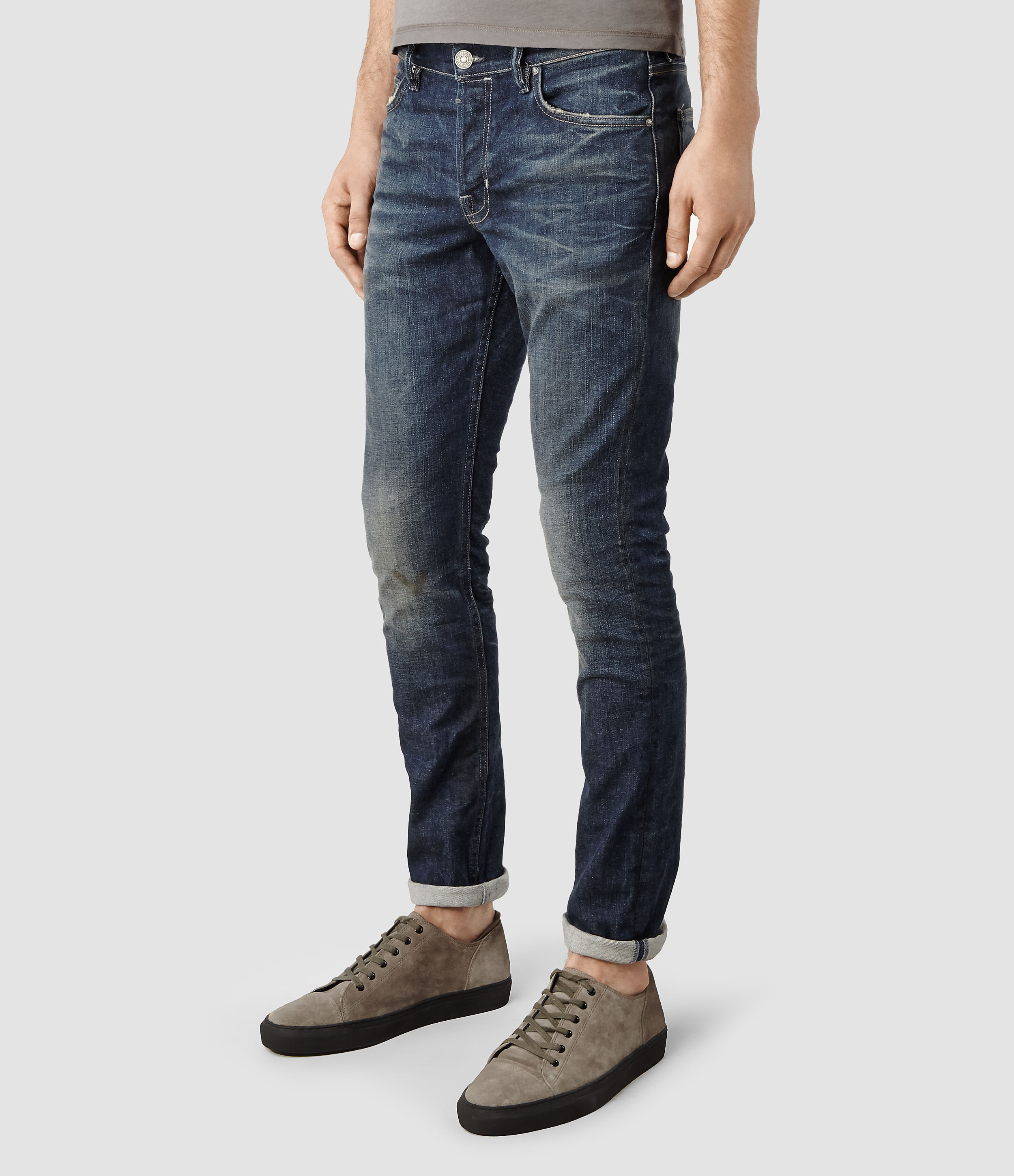 Allsaints Stamp Cigarette Jeans In Blue For Men Lyst