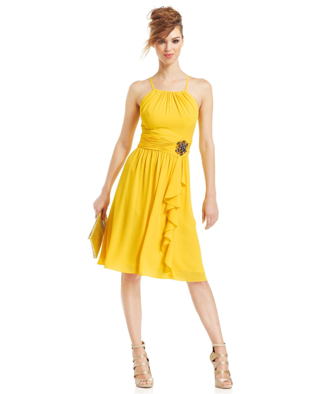 Lyst - Nine West Halter Crisscross-Back Cocktail Dress in Yellow