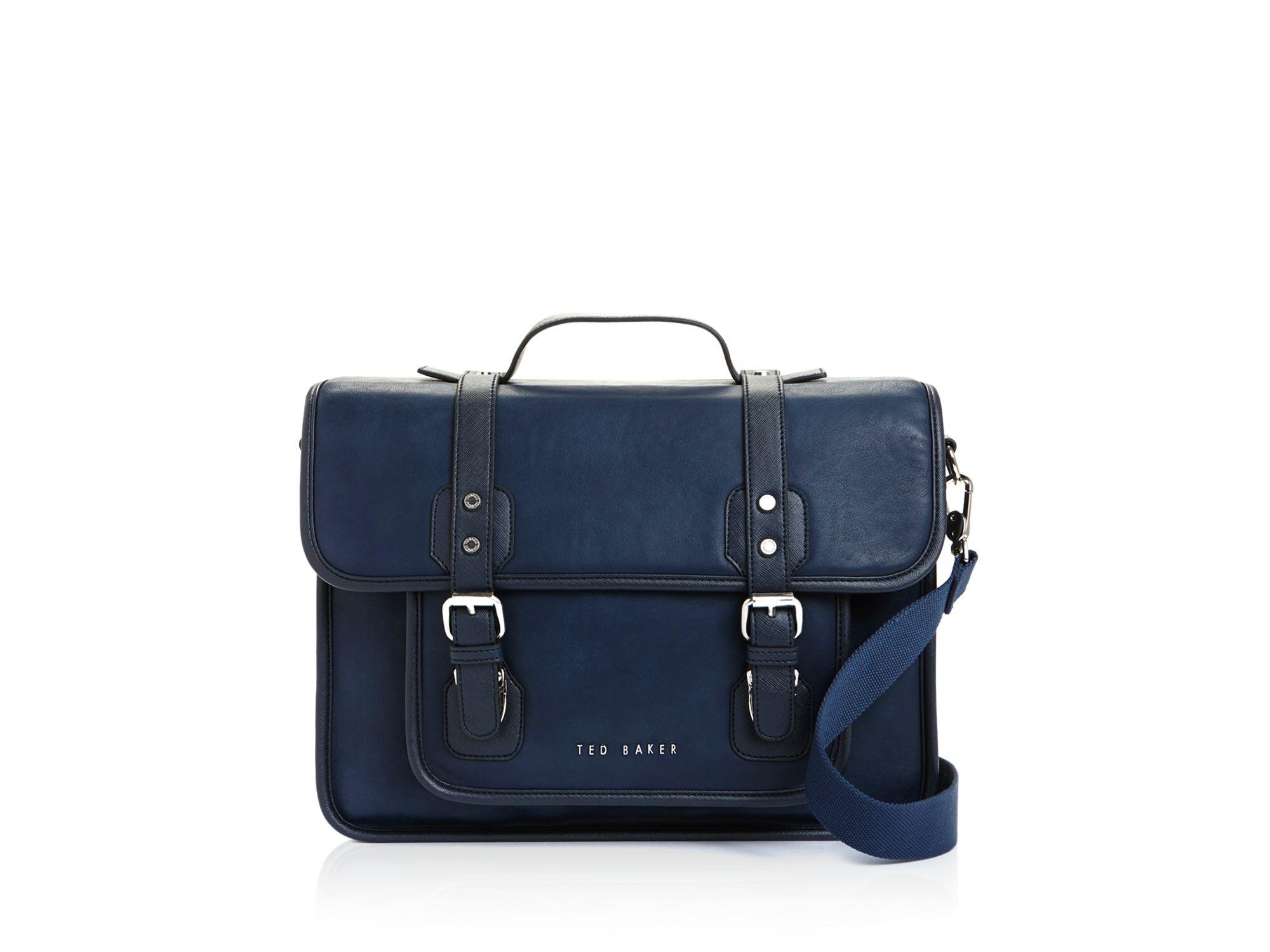 Ted baker Honkar Faux Leather Messenger Bag in Blue for Men | Lyst