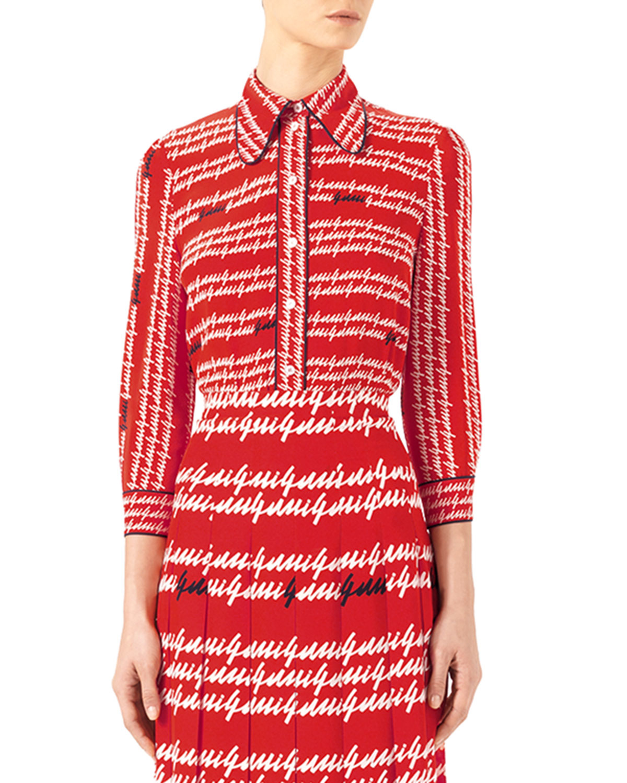 Gucci -print Silk Shirt in Red - 797.0KB