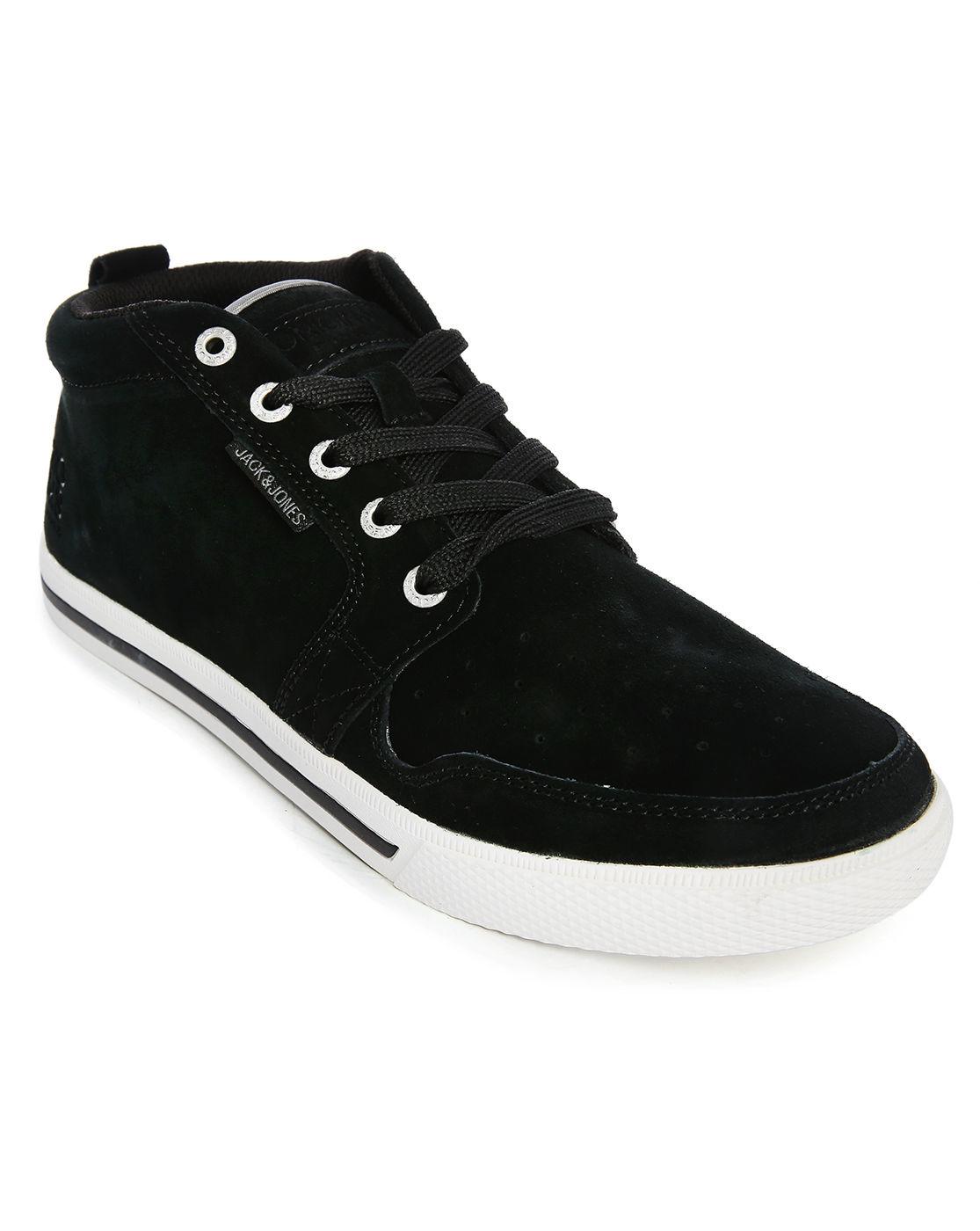 jack jones juno black suede contrasting laces high top sneakers in. Black Bedroom Furniture Sets. Home Design Ideas