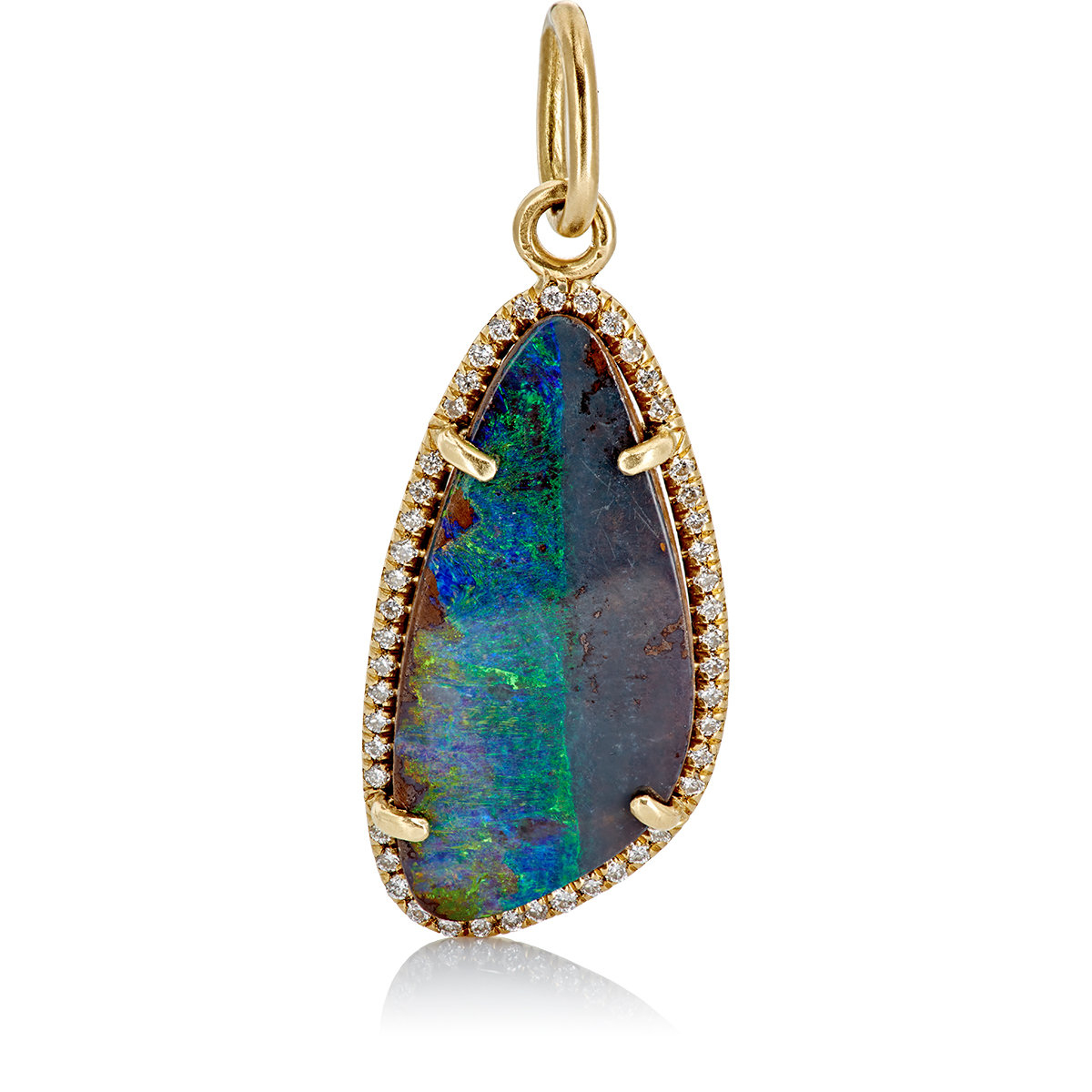 Irene neuwirth diamond boulder opal pendant in blue lyst for Jewelry stores boulder co
