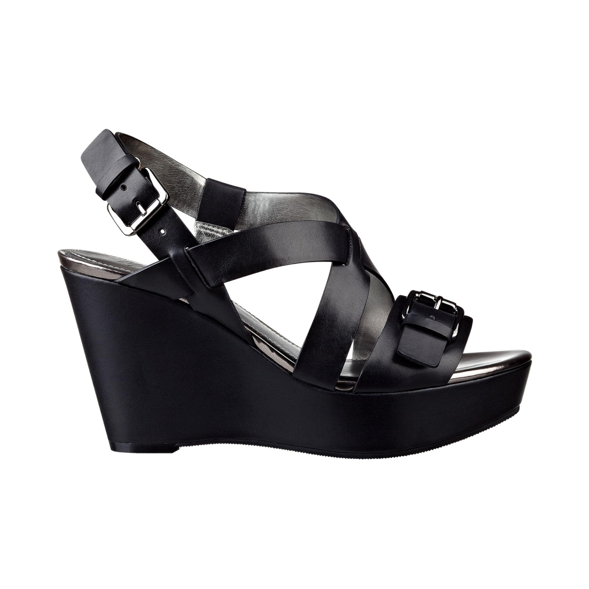 Lyst Marc Fisher Gilon Platform Wedge Sandals In Black