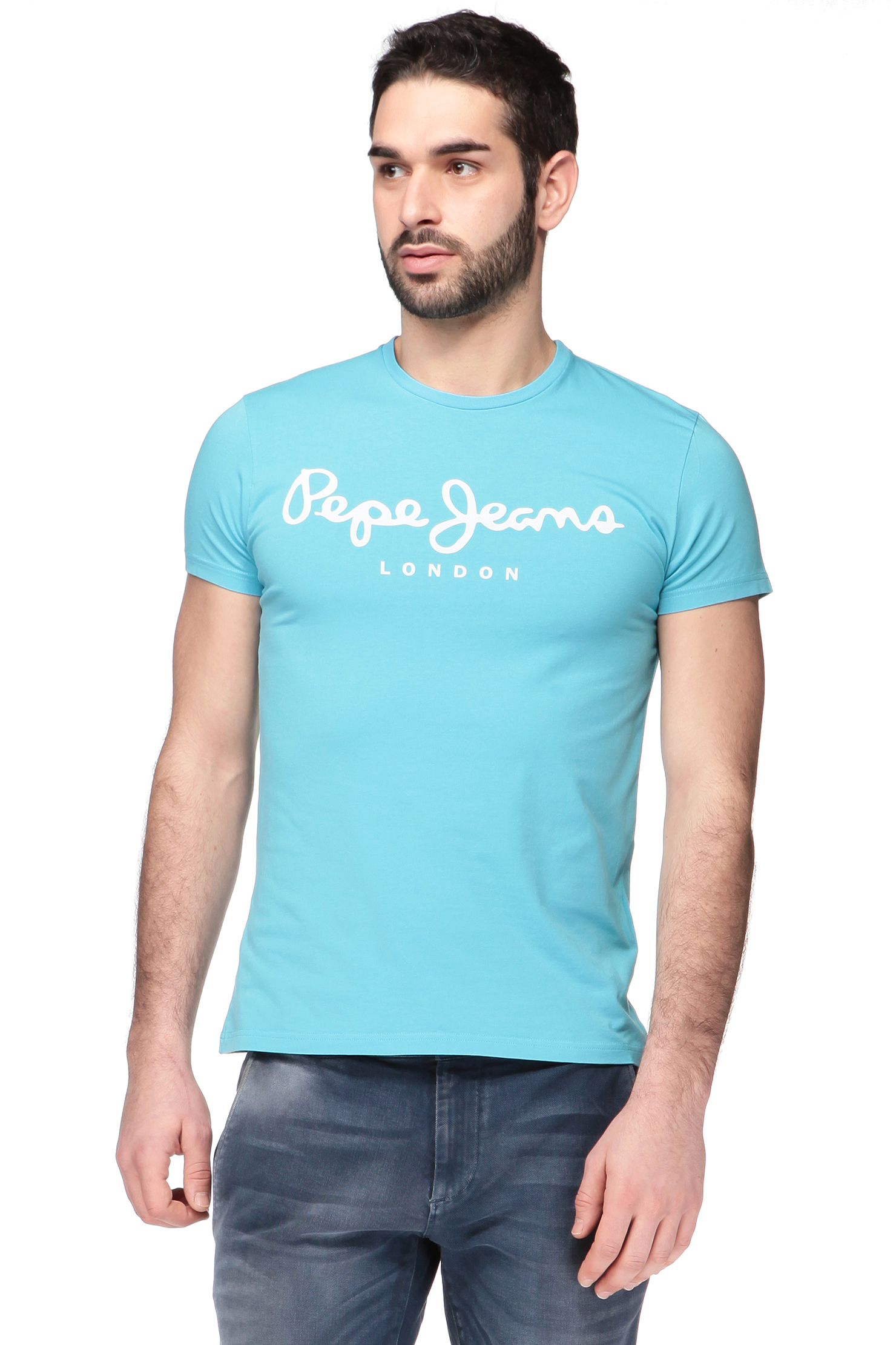 pepe jeans short sleeve t shirt pm501594 in blue for men. Black Bedroom Furniture Sets. Home Design Ideas