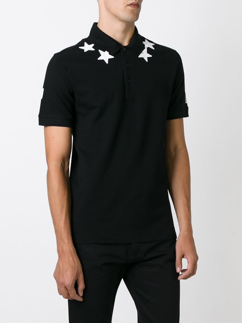 Givenchy star patch polo shirt in black for men lyst for Givenchy 5 star shirt
