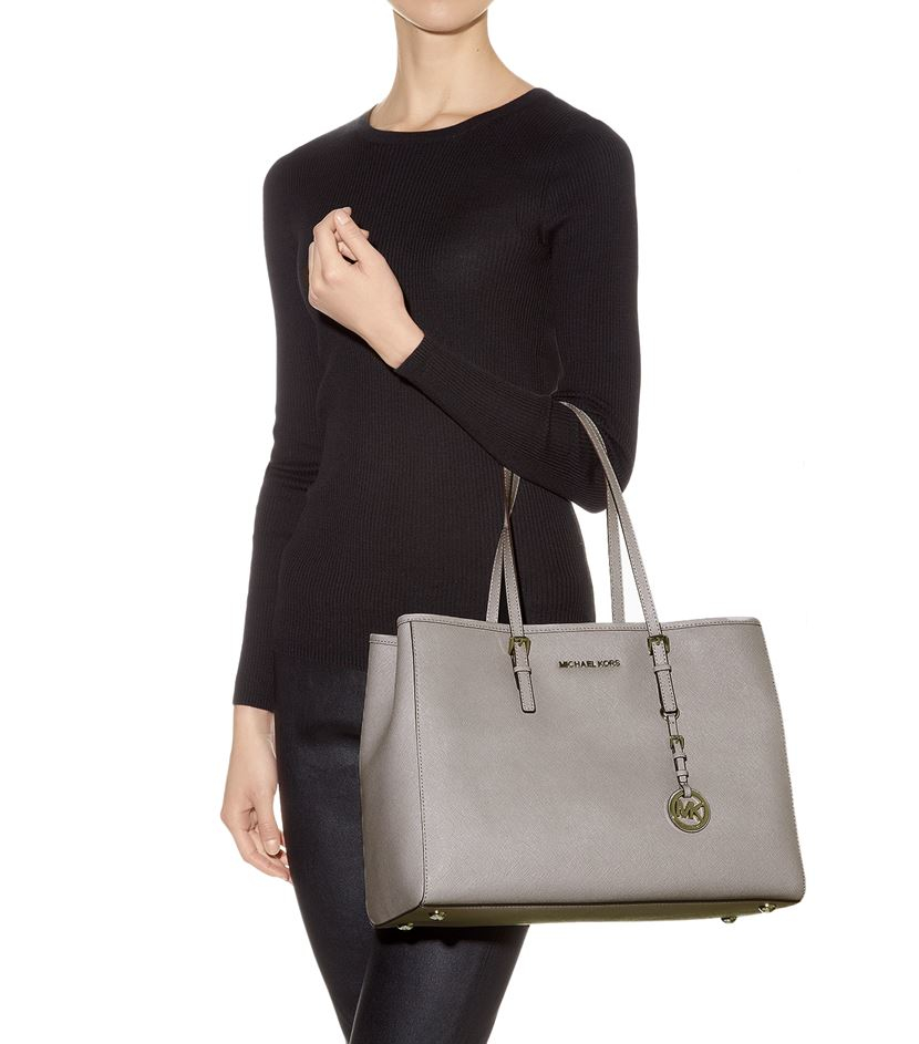 5fdc085869c935 MICHAEL Michael Kors Large Jet Set Travel East West Tote in Gray - Lyst