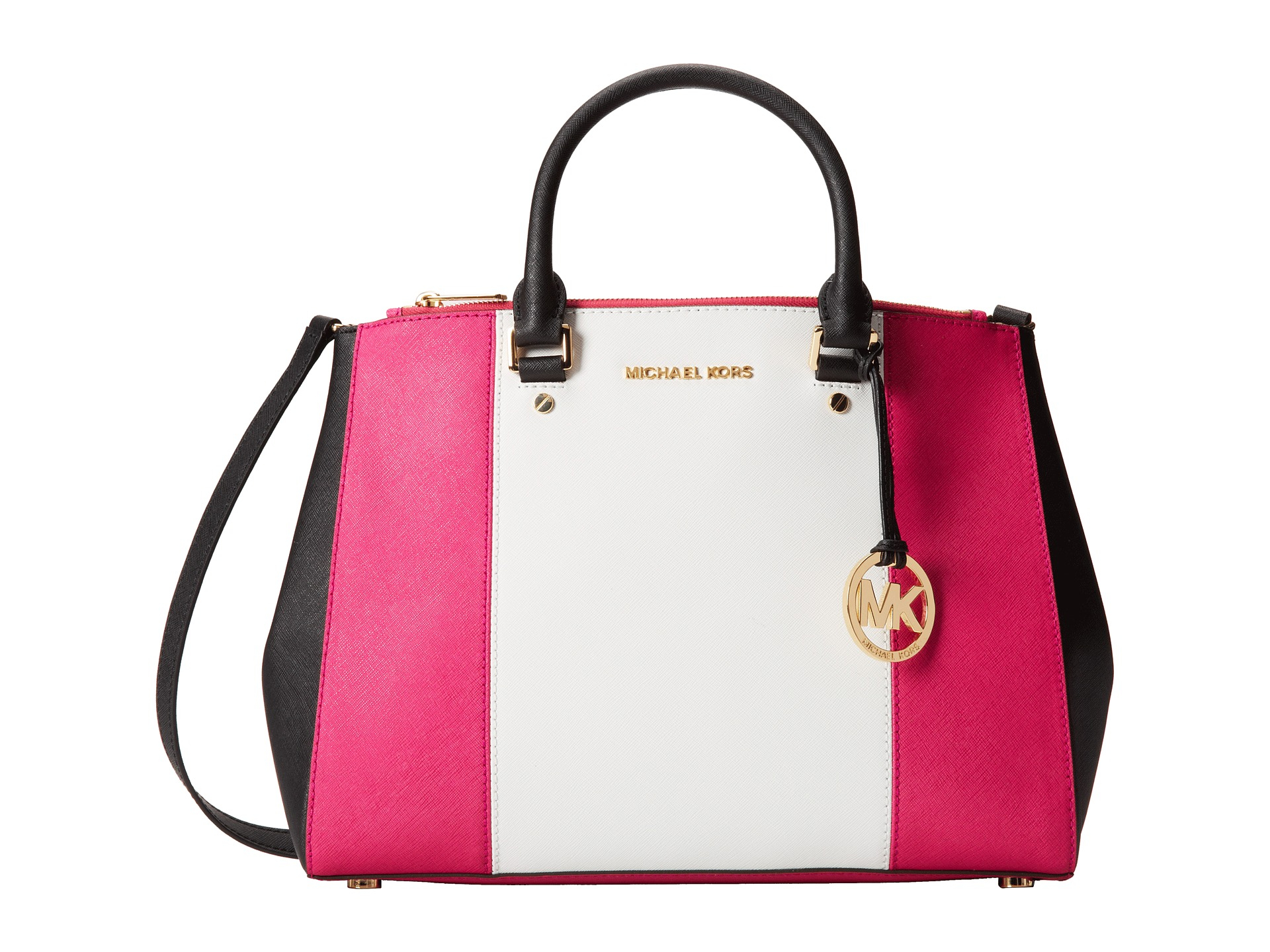 bfe6ba3608b904 ... spain lyst michael michael kors sutton center stripe large satchel in  pink 9d468 b36a2