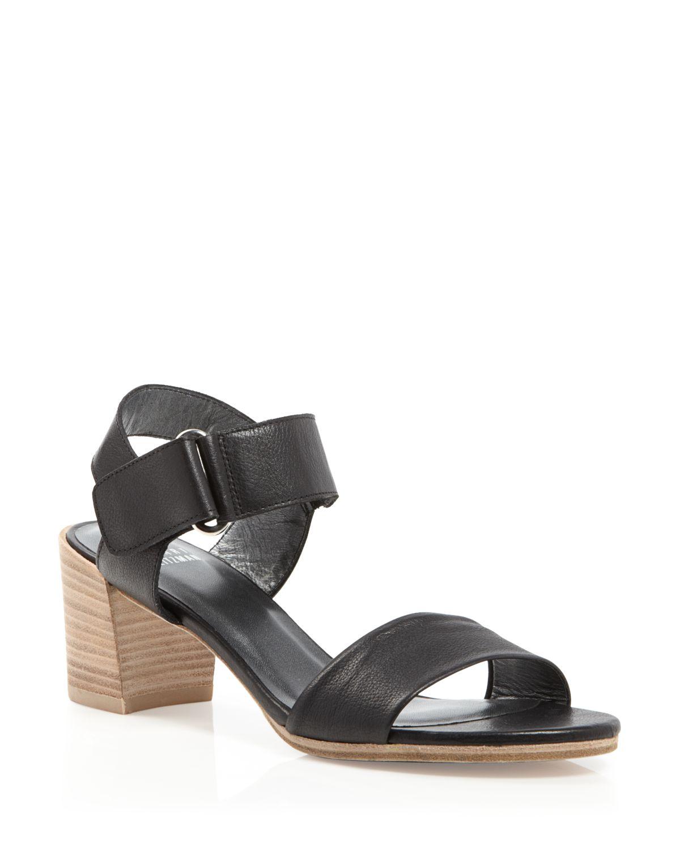 stuart weitzman city sandals broadband mid heel in black nero lyst. Black Bedroom Furniture Sets. Home Design Ideas