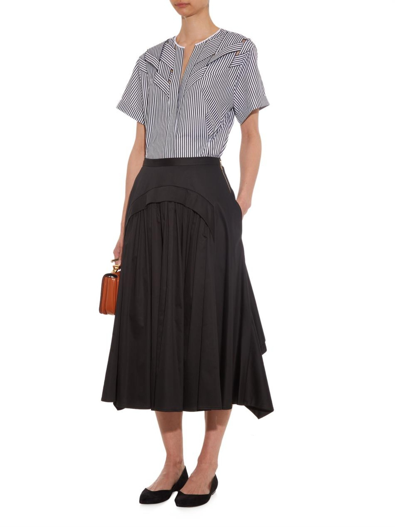Rochas Gathered And Ruffled Midi Skirt in Black