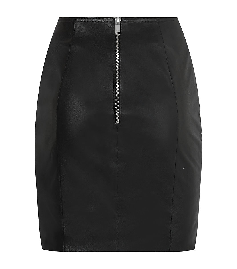 laurent studded leather mini skirt in black silver