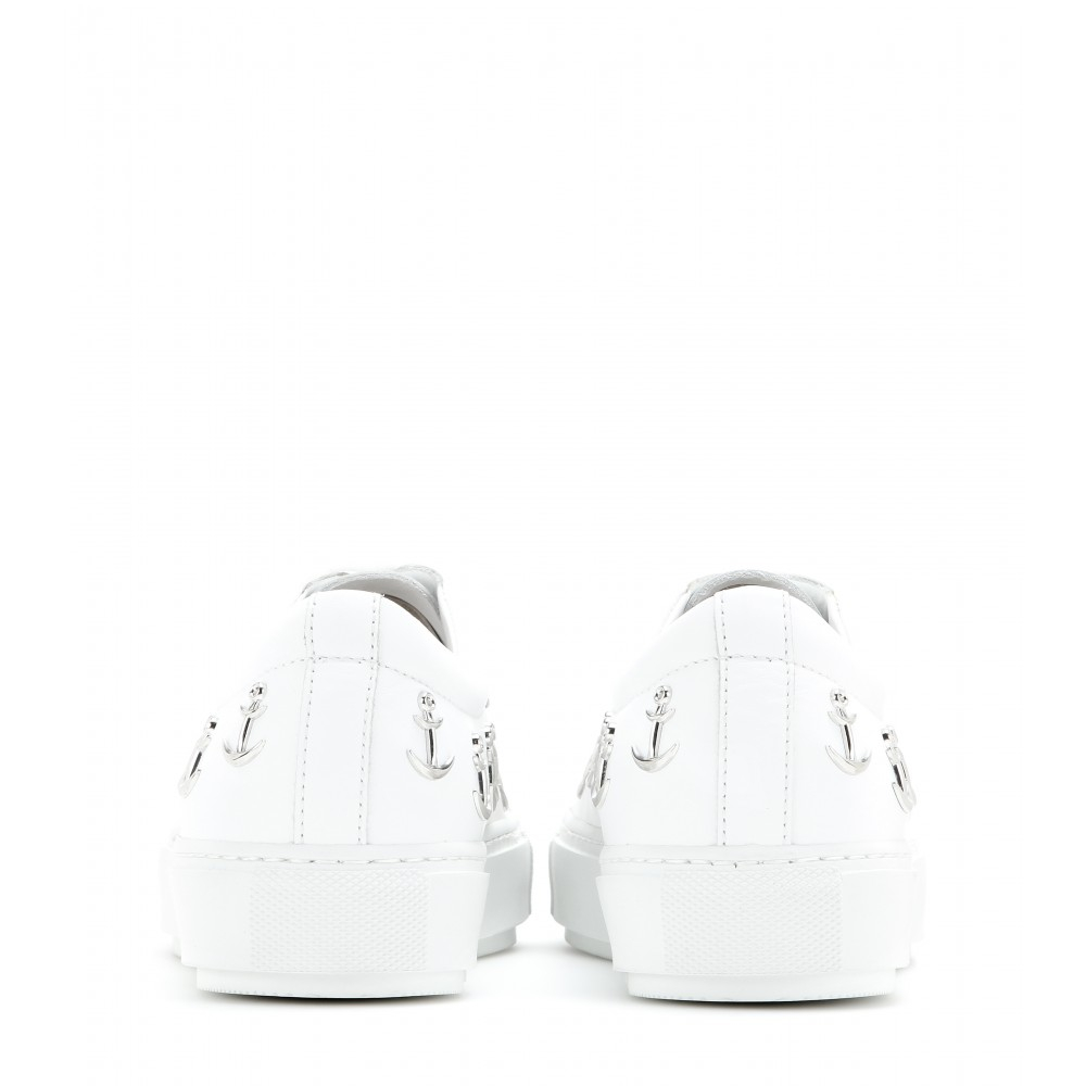 Acne Studios Adriana Anchor-Studded Leather Sneakers in White