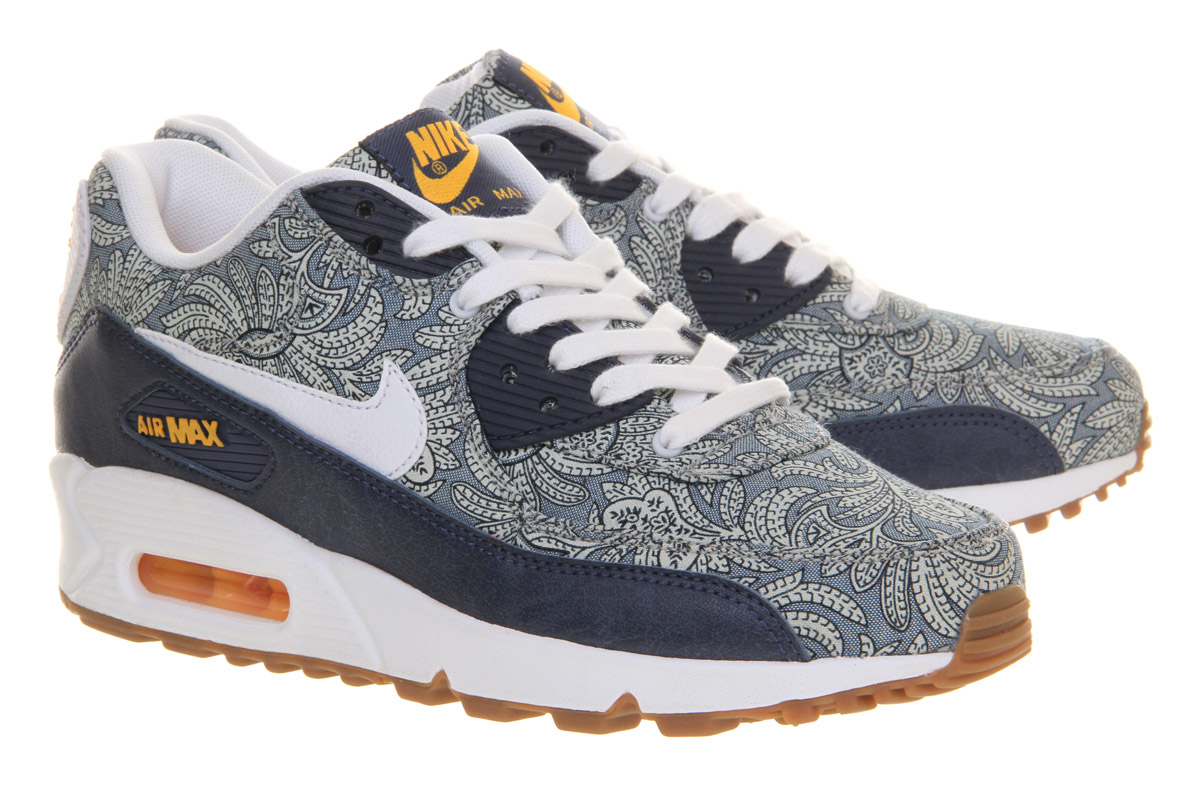 lyst nike air max 90 liberty in blue. Black Bedroom Furniture Sets. Home Design Ideas