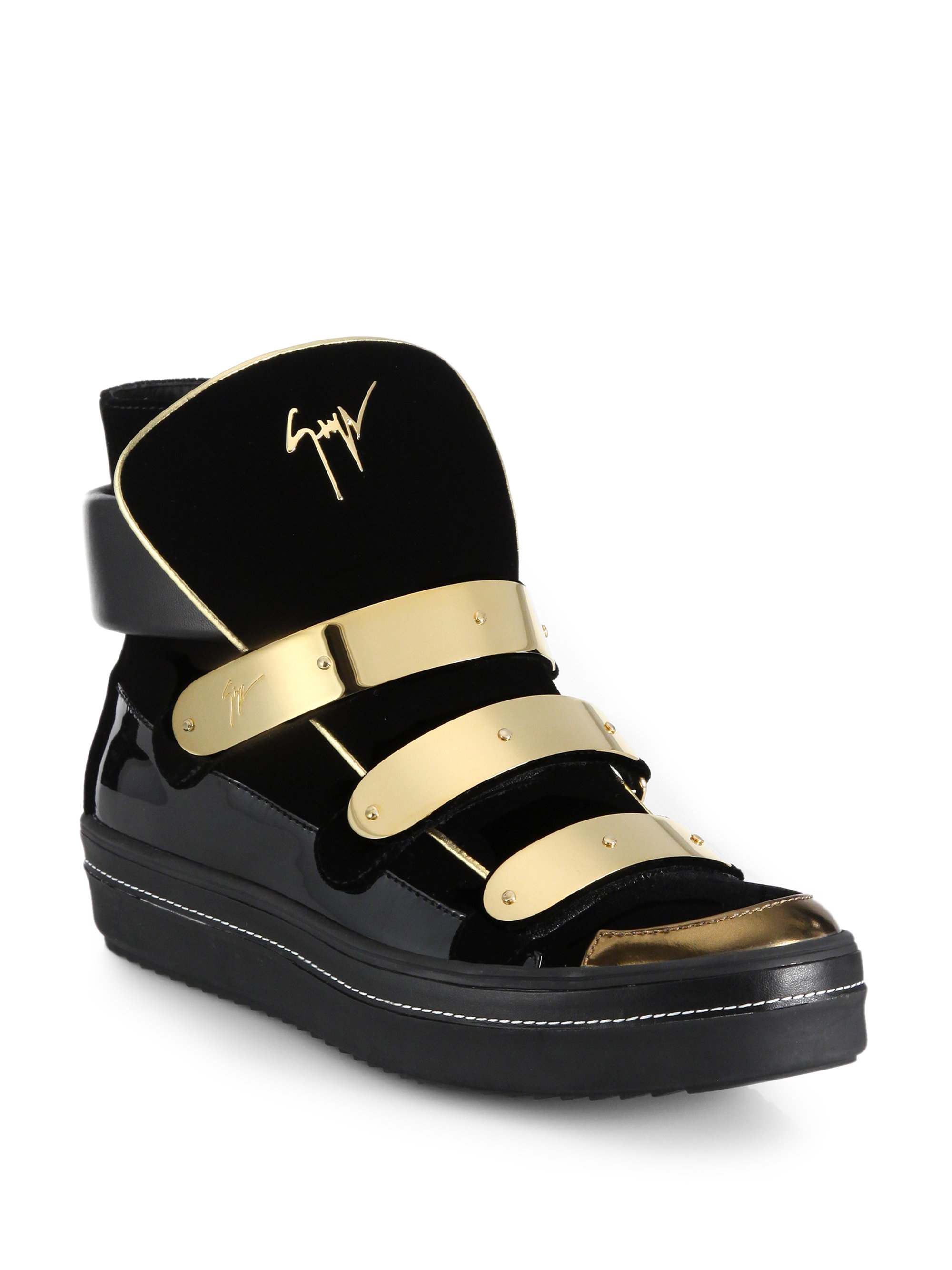 27b6f50db2815 Giuseppe Zanotti Space Velvet and Patent Leather High-Top Sneakers ...