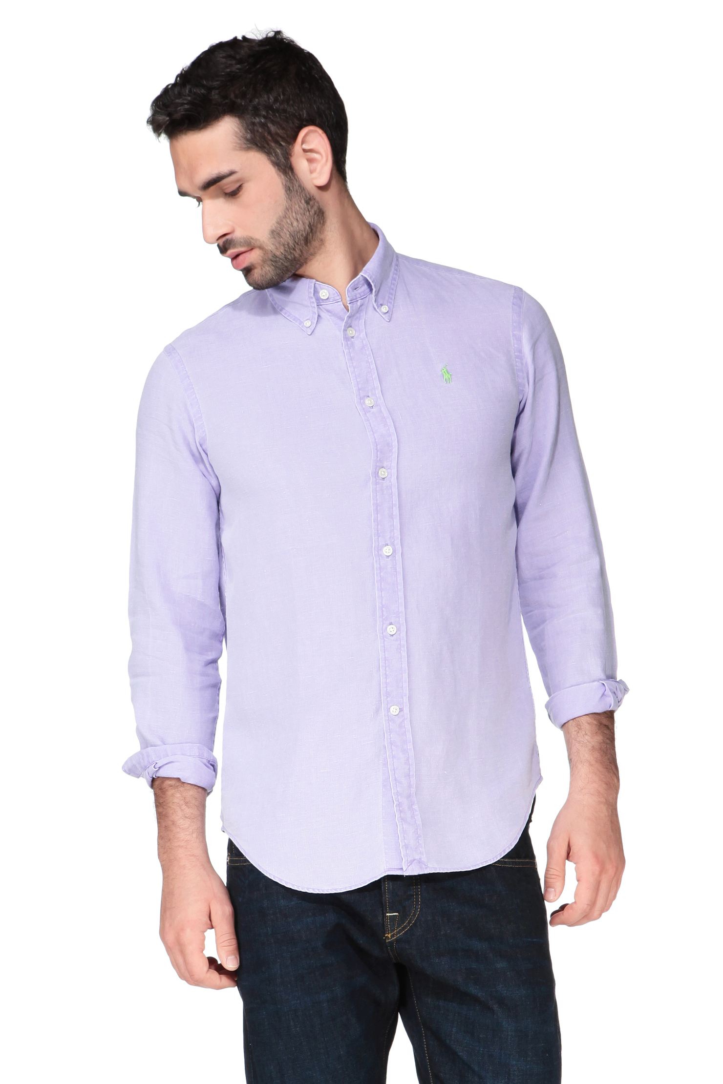 Polo ralph lauren shirt blouse in purple for men lyst for Long sleeve purple polo shirt