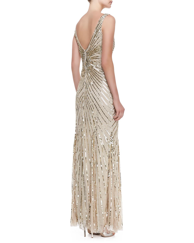 Lyst - Aidan Mattox Sleeveless Deco Bead Sequin Gown Champagne in ...