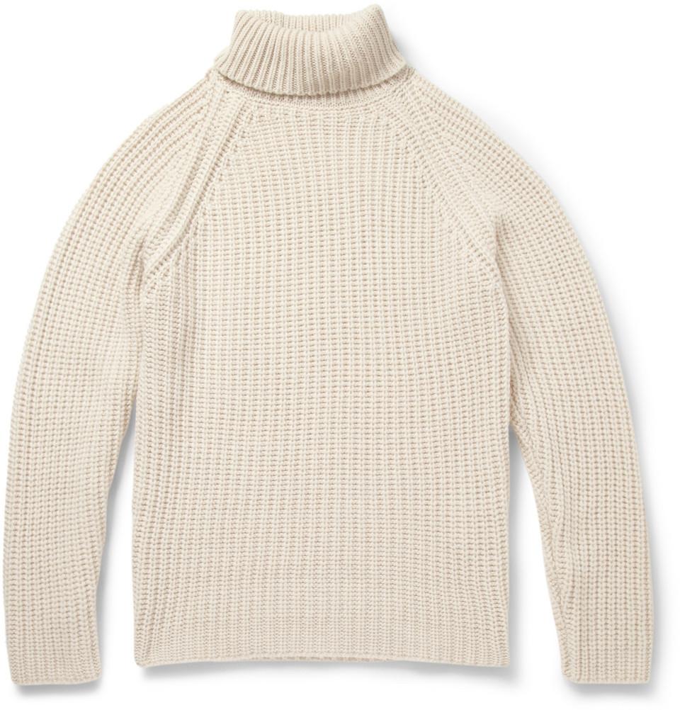 840cf5c3 Etro White Ribknit Cashmere Rollneck Sweater for men