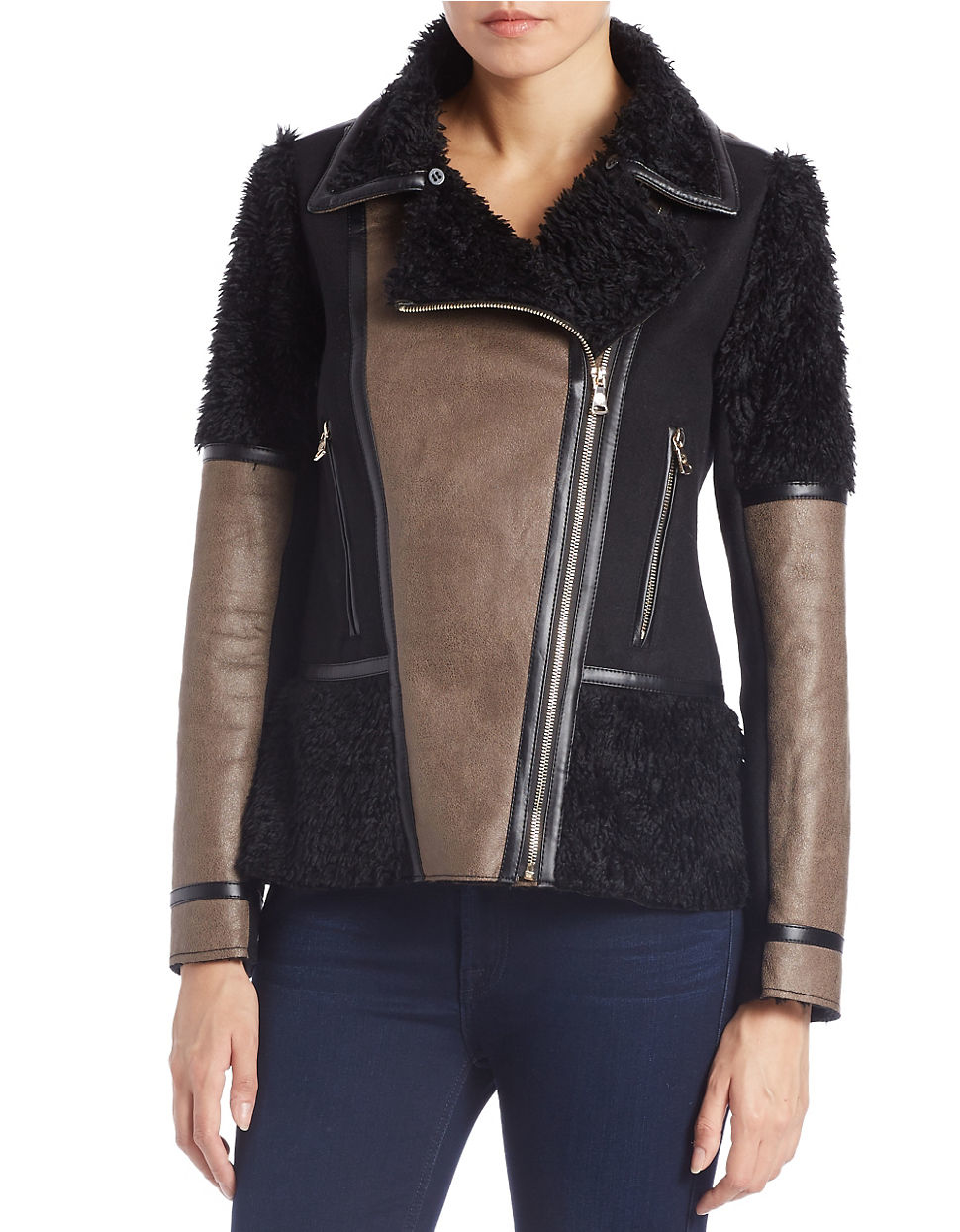 Lyst Vince Camuto Mixed Media Faux Fur Coat In Brown